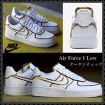 Nike AIR FORCE 1 Tartan Casual Style Street Style Bi-color Leather