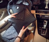 Skull Unisex Faux Fur Studded Street Style Clutches