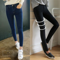 Casual Style Blended Fabrics Plain Cotton Long Pants