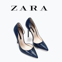 ZARA Leather Pin Heels Office Style Python