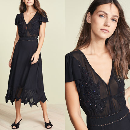 Flared Short Sleeves Midi Lace Dresses