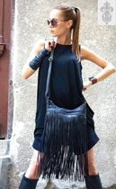 Aakasha Plain Leather Handmade Fringes Shoulder Bags