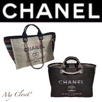 CHANEL DEAUVILLE Stripes Casual Style Canvas Street Style A4 2WAY Plain