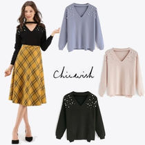 Chicwish Street Style V-Neck Long Sleeves Plain With Jewels