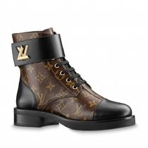 Louis Vuitton MONOGRAM Monogram Plain Toe Rubber Sole Blended Fabrics Bi-color