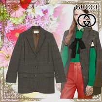 GUCCI Other Check Patterns Casual Style Wool Long Parkas