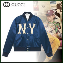 GUCCI Unisex Street Style Collaboration Plain Varsity Jackets