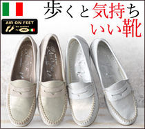 NEW ITALIA SHOES Round Toe Casual Style Plain Leather Loafer & Moccasin Shoes