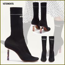 VETEMENTS Casual Style Street Style Plain Block Heels Boots Boots
