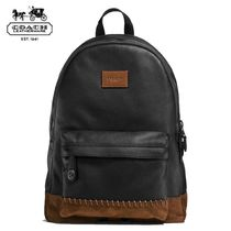 Coach BASEBALL Unisex Blended Fabrics A4 Bi-color Plain Leather Backpacks