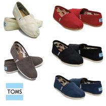 TOMS Round Toe Rubber Sole Casual Style Plain Slip-On Shoes