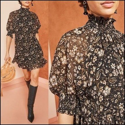Short Flower Patterns Paisley Casual Style Silk