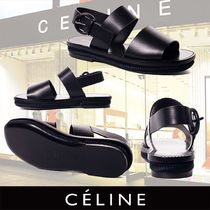 CELINE Open Toe Plain Leather Sandals