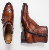 MAGNANNI Wing Tip Monk Leather Loafers & Slip-ons