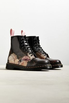 Flower Patterns Plain Toe Unisex Street Style Collaboration