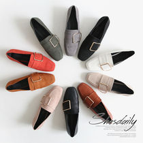 Square Toe Casual Style Plain Loafer Pumps & Mules