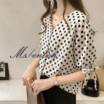 Dots Chiffon Medium Short Sleeves Elegant Style