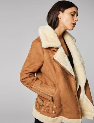 Faux Fur Plain Medium Cashmere & Fur Coats