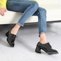 Square Toe Casual Style Faux Fur Plain Chunky Heels