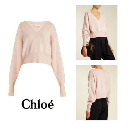 Short Casual Style Cashmere V-Neck Long Sleeves Plain