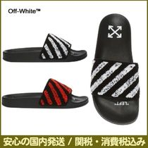 Off-White Stripes Unisex Street Style Leather Shower Shoes