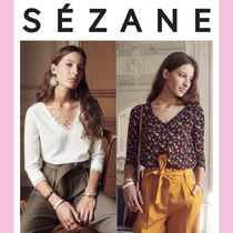 SEZANE Flower Patterns Casual Style Cropped Plain Medium