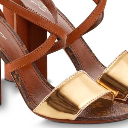 4b9c8664bd29 Louis Vuitton Heeled Casual Style Plain Leather Block Heels Heeled Sandals 6  ...