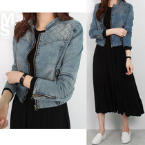 Short Casual Style Denim Street Style Plain Jackets