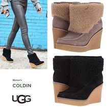 UGG Australia Plain Toe Sheepskin Blended Fabrics Plain Wedge Boots