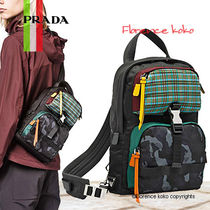 PRADA Other Check Patterns Casual Style Unisex Nylon Backpacks