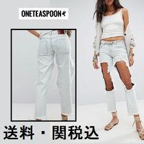 One Teaspoon Casual Style Denim Plain Long Wide & Flared Jeans