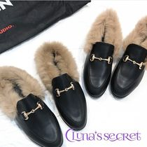 Plain Toe Moccasin Faux Fur Elegant Style Pumps & Mules