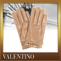 VALENTINO Studded Street Style Plain Leather