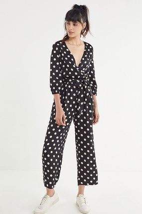 Dots Casual Style V-Neck Long Dresses
