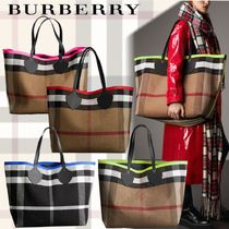 Burberry Other Check Patterns Unisex A4 Leather Oversized Totes