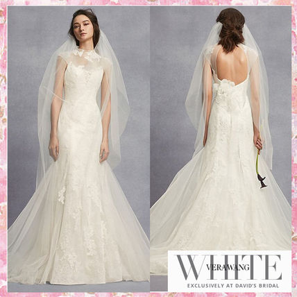 Vera Wedding Dresses Flared Long Short Sleeves High Neck Lace