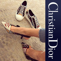 Christian Dior Flower Patterns Plain Toe Casual Style Blended Fabrics
