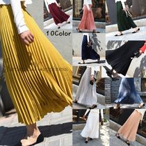 Chiffon Pleated Skirts Plain Long Midi Elegant Style Bold