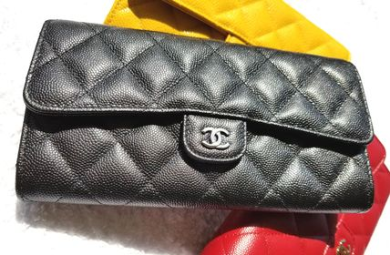 CHANEL MATELASSE Unisex Leather Folding Wallet Long Wallets