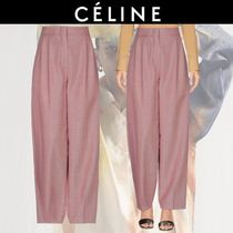 CELINE Wool Blended Fabrics Plain Long Elegant Style Bold Pants