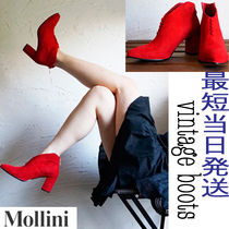 MOLLINI Plain Leather Chunky Heels Ankle & Booties Boots