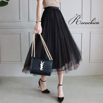 Flared Skirts Casual Style Collaboration Plain Long