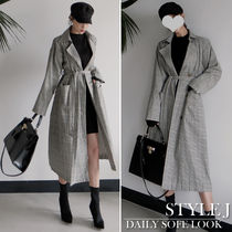 Other Check Patterns Casual Style Long Oversized Jackets
