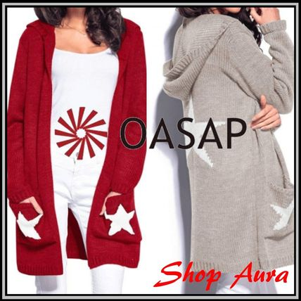 Star Casual Style Long Sleeves Long Cardigans