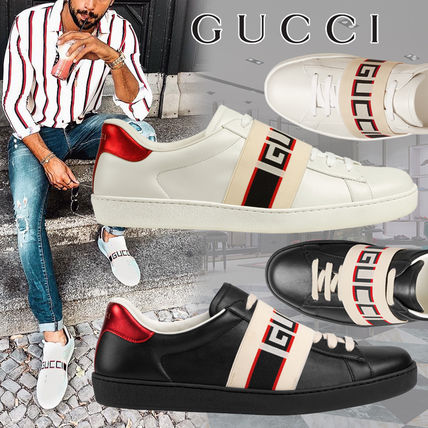 ... GUCCI Sneakers Stripes Street Style Plain Leather Sneakers ...