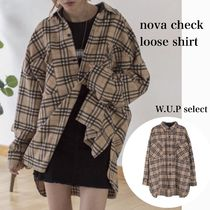 Other Check Patterns Casual Style Wool Long Sleeves Medium