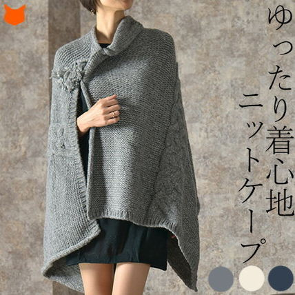 Wool Plain Medium Ponchos & Capes