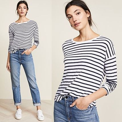 Crew Neck Stripes Long Sleeves T-Shirts