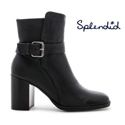 Round Toe Plain Leather Ankle & Booties Boots