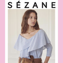 SEZANE Stripes Cropped Cotton Medium Party Style Shirts & Blouses
